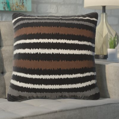 Garey Linen Vertical Stripe Throw Pillow Color: Balck/Brown