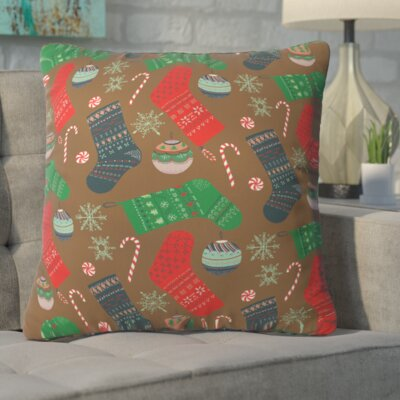 Christmas Ornaments Throw Pillow Size: 16 H x 16 W x 4 D