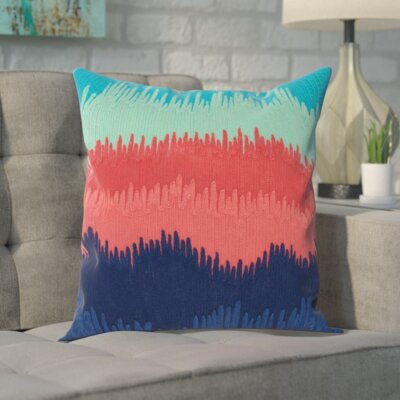 Kane Wool Throw Pillow Color: Navy/Coral/Green
