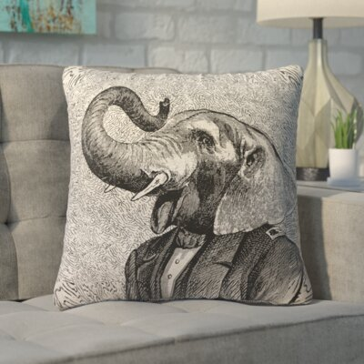 Lindy Elephant Linen Throw Pillow