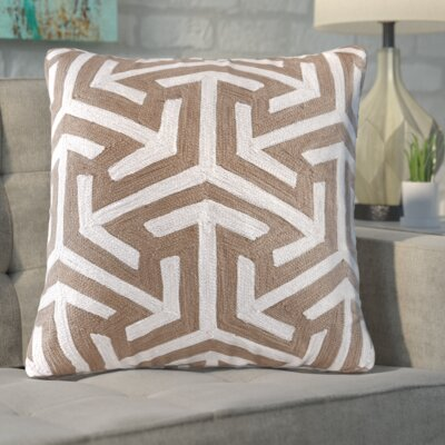 Bourg Crewel Embroidered Square Cotton Throw Pillow Color: Tan