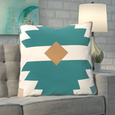 Roberson Geometric Print Floor Pillow Color: Aqua