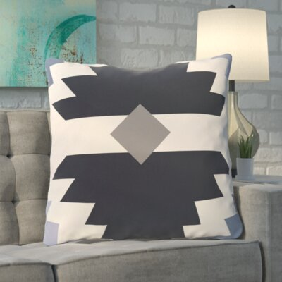 Roberson Geometric Print Floor Pillow Color: Navy Blue