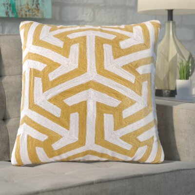 Bourg Crewel Embroidered Square Cotton Throw Pillow Color: Yellow