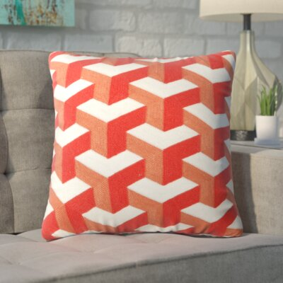 Bolger Embroidered Cotton Throw Pillow Color: Orange