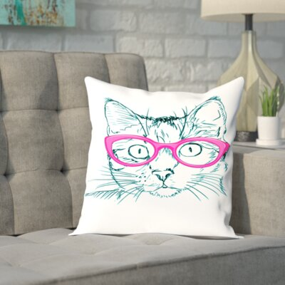 Double Sided Print Throw Pillow Size: 14 H x 14 W x 2 D, Color: White