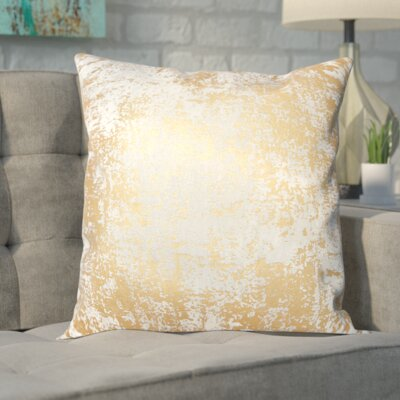 Biscoe Distressed Metallic Throw Pillow Color: Gold
