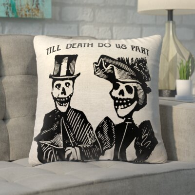 Lindy Skull Couple Linen Throw Pillow