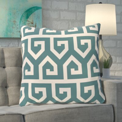 Boyer Keyed Up Geometric Print Floor  Pillow Color: Teal
