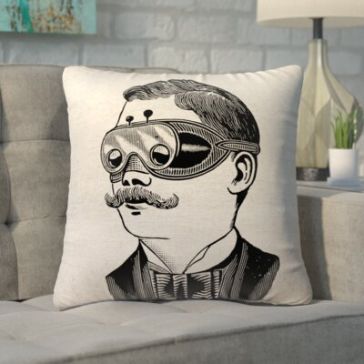 Biscoe Steampunk Glasses Linen Throw Pillow