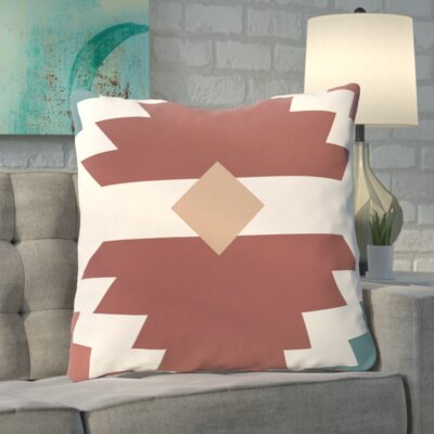 Roberson Geometric Print Floor Pillow Color: Orange