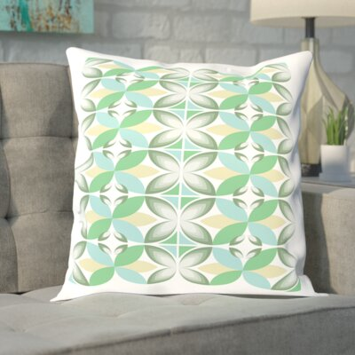 Tiles Outdoor Throw Pillow Size: 18 H x 18 W x 2 D, Color: Green