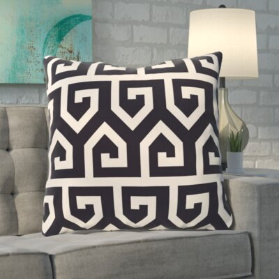 Boyer Keyed Up Geometric Print Floor  Pillow Color: Navy Blue