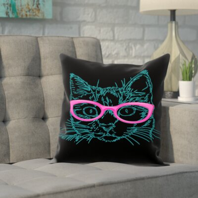 Double Sided Print Throw Pillow Size: 14 H x 14 W x 2 D, Color: Black