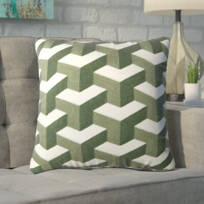Bolger Embroidered Cotton Throw Pillow Color: Green