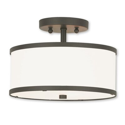 Cana 2-Light Drum/Cylinder Shade Semi Flush Mount