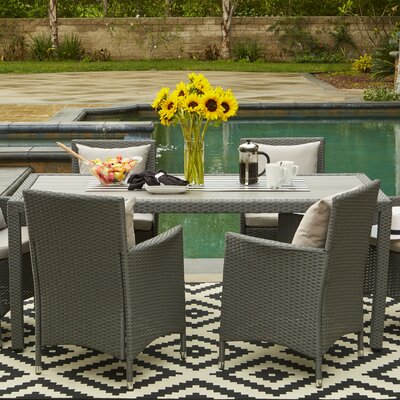 Lachesis Indoor/Outdoor Rectangle Dining Table Finish: Gray