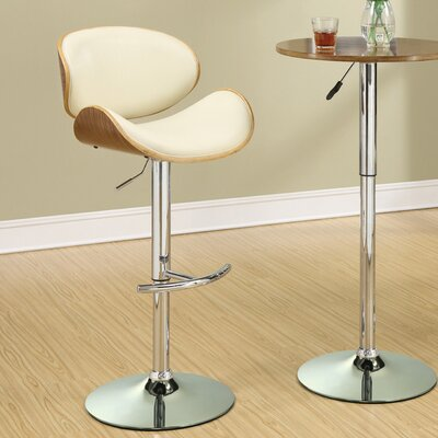 Basso Adjustable Height Bar Stool Upholstery: Cream