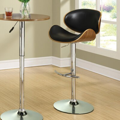 Basso Adjustable Height Bar Stool Upholstery: Black