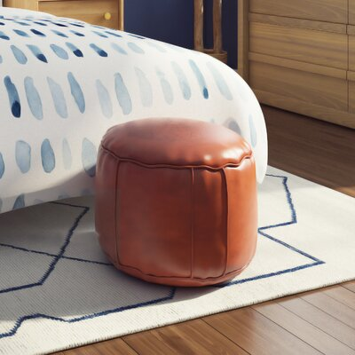 Neasa�Fez Leather Pouf Upholstery: Dark Orange