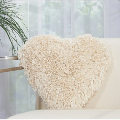 Bressler Heart Throw Pillow Color: Cream