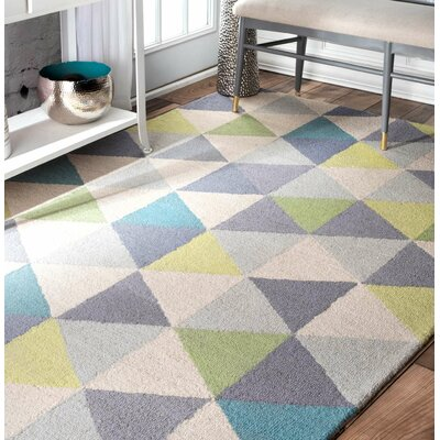 Peasley Hand-Hooked Gray/Blue Area Rug Rug Size: Rectangle 3 x 5