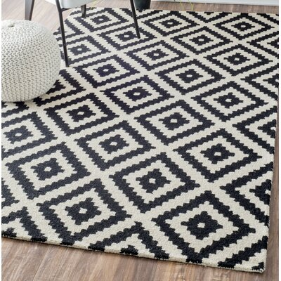 Obadiah Hand-Tufted Wool Black Area Rug Rug Size: Square 6