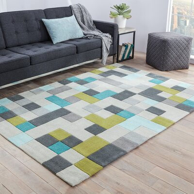 Baney Hand Tufted Gray/Blue Area Rug