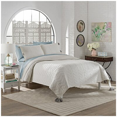 Brandt 3 Piece Quilt Set Size: King, Color: White