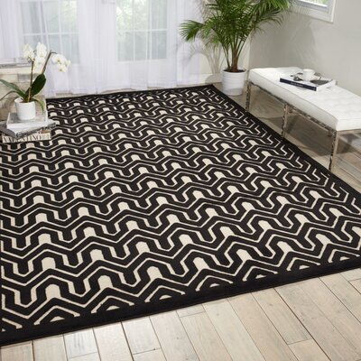 Zopyros Black/Ivory Area Rug Rug Size: Rectangle 36 x 56