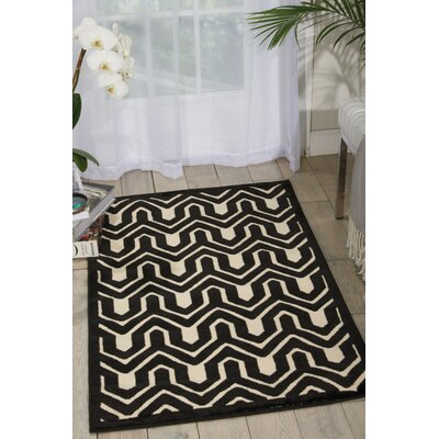 Zopyros Black/Ivory Area Rug Rug Size: Rectangle 26 x 4