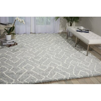 Kosmas Hand-Tufted Slate/Ivory Area Rug Rug Size: Rectangle 5 x 7