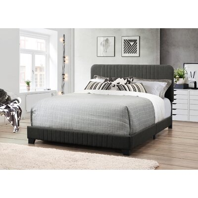 Delp Mid-Century All-in-One Upholstered Panel Bed Size: Queen, Upholstery: Dupree Steel
