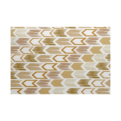 Waller Geometric Gold/Beige Area Rug Rug Size: Rectangle 3 x 5