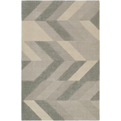 Dandrea Hand-Tufted Light Gray/Sea Foam Area Rug Rug Size: Round 8'
