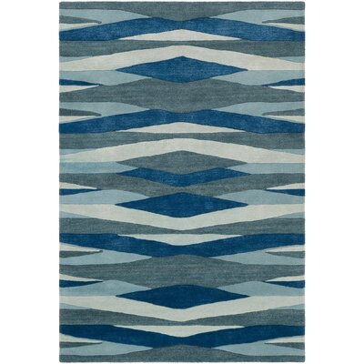 Melitta Hand-Tufted Bright Blue/Teal Area Rug Rug Size: 33 x 53