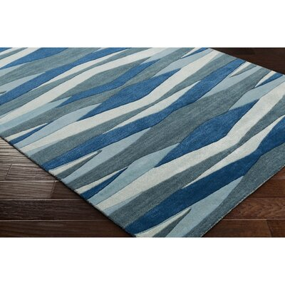 Melitta Hand-Tufted Bright Blue/Teal Area Rug Rug Size: Round 8'
