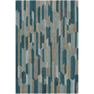 Borel Hand-Tufted Emerald/Sage Area Rug Rug Size: Rectangle 33 x 53