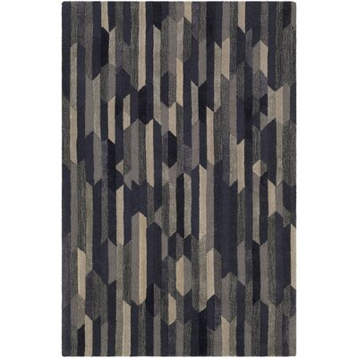Demaria Hand-Tufted Navy/Tan Area Rug Rug Size: Runner 26 x 8