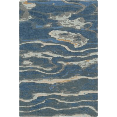 Borges Hand-Tufted Navy/Sea Foam Area Rug Rug Size: Round 8