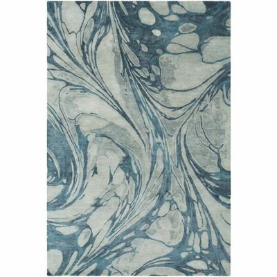 Moira� Hand-Tufted Sea Foam/Teal Area Rug Rug Size: Rectangle 5 x 76