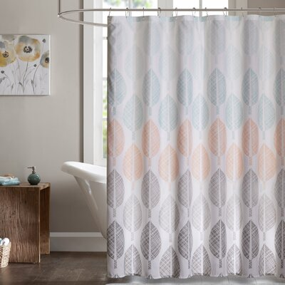 Utterback Printed Shower Curtain Color: Green/Coral/Gray