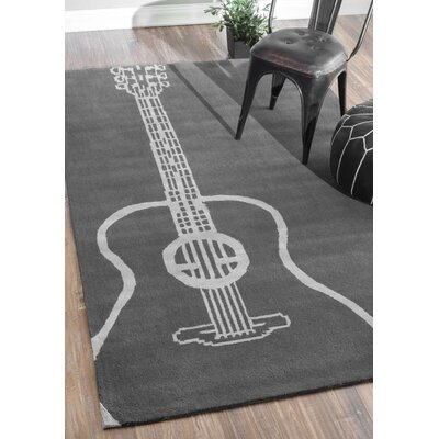 Bracewell Gray Guitar Novelty Outdoor Area Rug Rug Size: 4 x 6