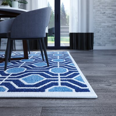 Izador Light Blue / Navy Indoor/Outdoor Area Rug Rug Size: Rectangle 6 x 9