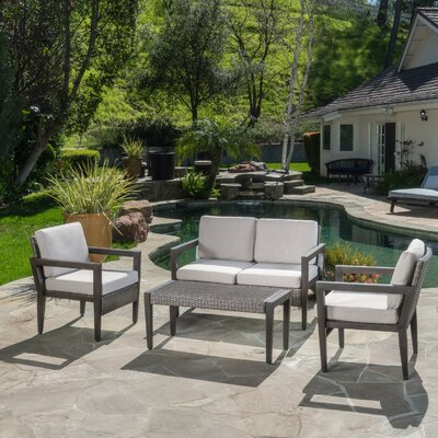 Bracondale Outdoor 4 Piece Lounge Seating Group with Cushion
