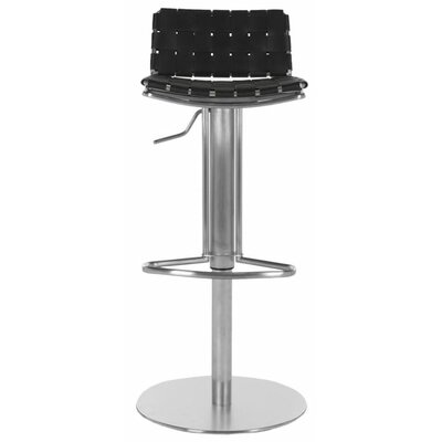 Tevin Adjustable Height Bar Stool Upholstery: Black