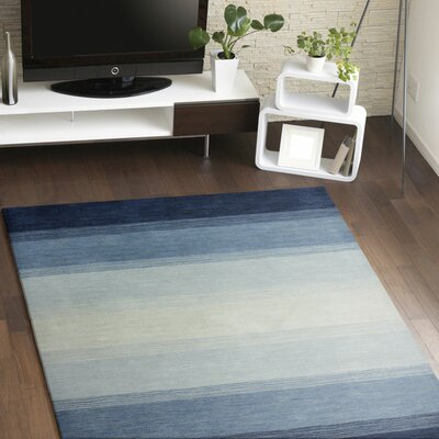 Hand-Woven Wool Blue Area Rug Rug Size: Rectangle 76 x 96
