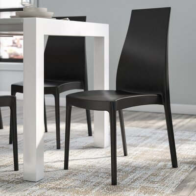 Aquila Patio Dining Chair (Set of 2) Finish: Black