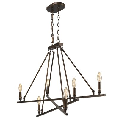 Uman 6-Light Candle-Style Steel Chandelier Finish: Rubbed Bronze