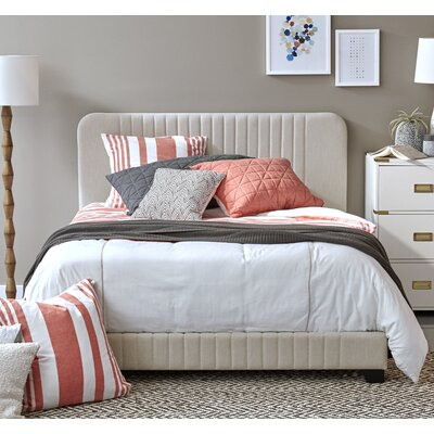 Delp Mid-Century All-in-One Upholstered Panel Bed Size: King, Upholstery: Dupree Linen